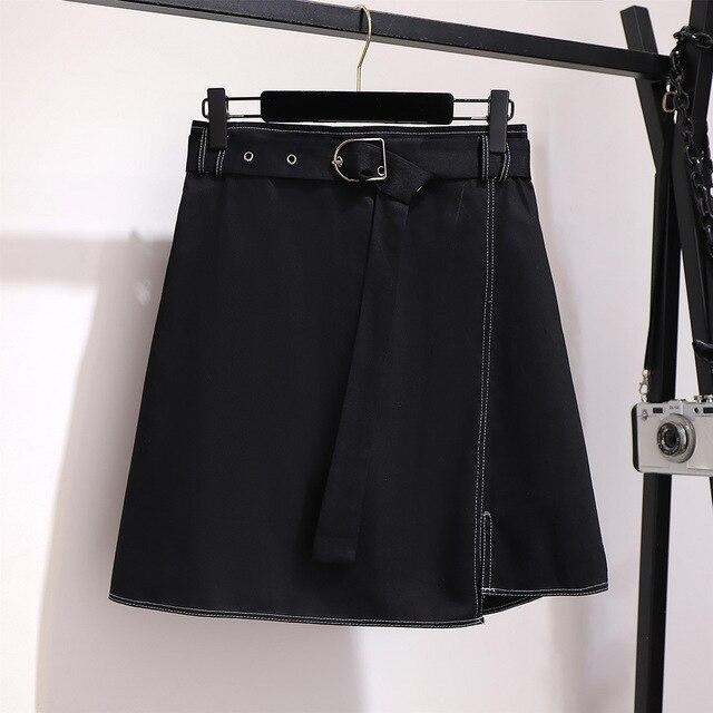 2019 autumn winter plus size mini skirt for women large casual loose elastic waist short skirts belt blue 3XL 4XL 5XL 6XL 7XL 2
