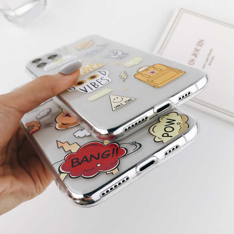 Lovebay abstrato claro dos desenhos animados caso de telefone para iphone 11 pro max x xr xs max 6 s 7 8 plus macio tpu moda capa para iphone 11