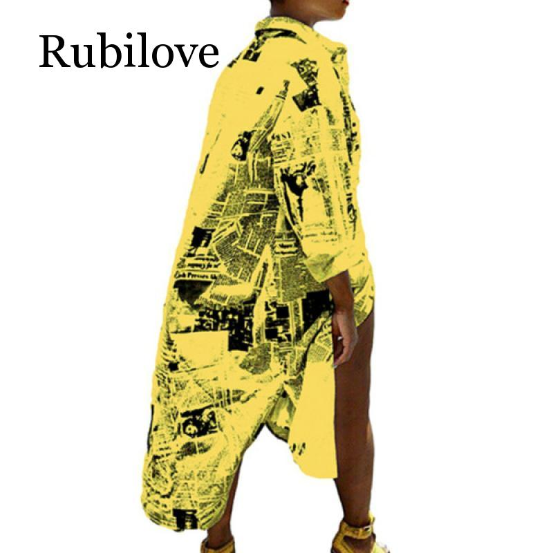 Rubilove Casual Printed T Shirt Dress Women White Long Sleeve Front Split Party Dress Casual Yellow Collar Buttons Dress in Dresses from Women 39 s Clothing