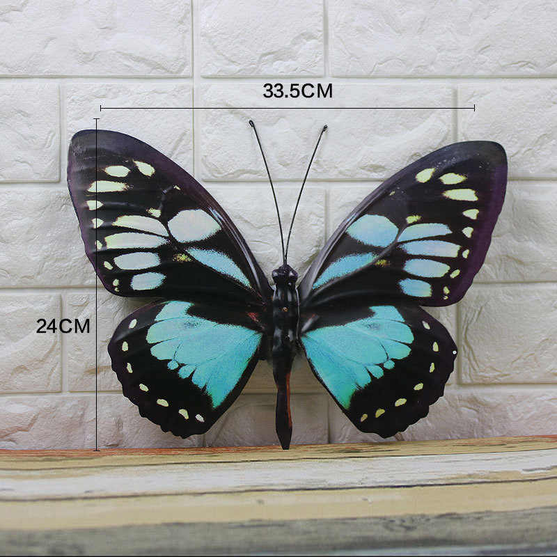 Modern Wall Decoration Life-like Display Creative 3D Iron Butterfly Ornament Hanging Room Home Background Decor Hand-painted