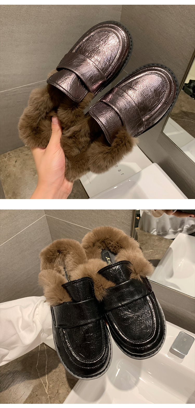 Cover Toe Female Shoes Loafers Womens Slippers Outdoor Mules Sexy Platform Slides Fur Flip Flops 2019 Soft Flat Plush PU with 35