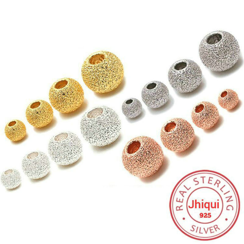 925 Sterling Silver Gold Rose Gold Dull Polish Round Spacer Beads Suit For Bracelet Necklace Loose Beads Diy Jewelry Making Beads Aliexpress