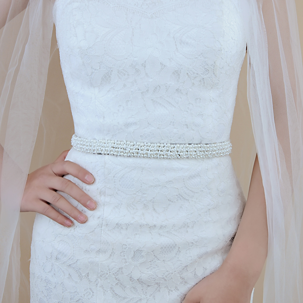 Bride Wedding Dress Sewing Rhinestone Belts Hand-stitched Sash Waist Elegant