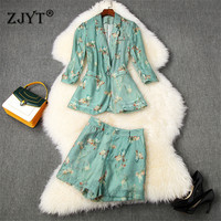 High Quality Designer Summer Suit Women Pants 2 Piece Set 2020 New Fashion Print One Button Blazer and Shorts Set Office Twinset