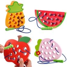 Деревянные игрушки монтессори, 1 шт., червь, есть фрукты, яблоко, груша, забавная деревянная головоломка, игра, обучающие дошкольные игрушки д...