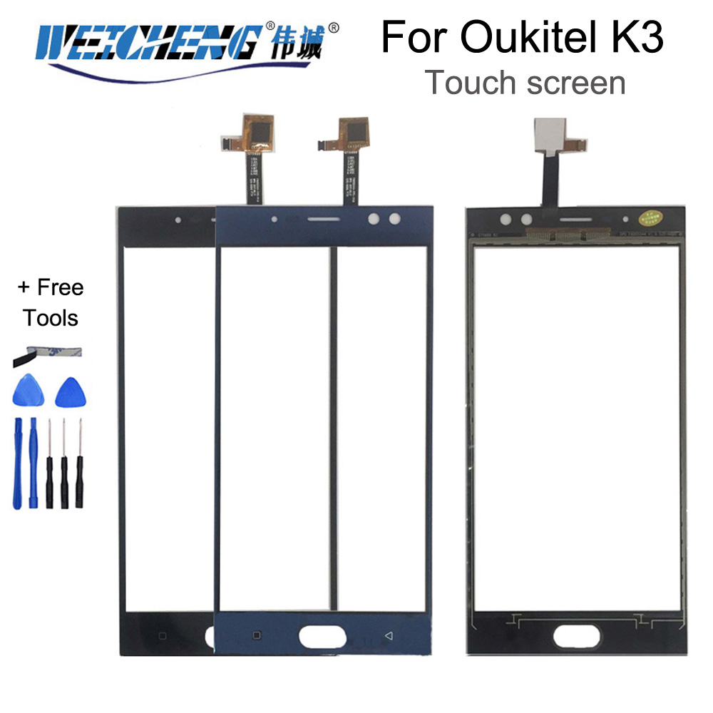 WEICHENG 5.5 Inch For Oukitel K3 Touch Screen Panel 100% Guarantee New  Glass Panel For K3 Touch Screen Glass+free Tools