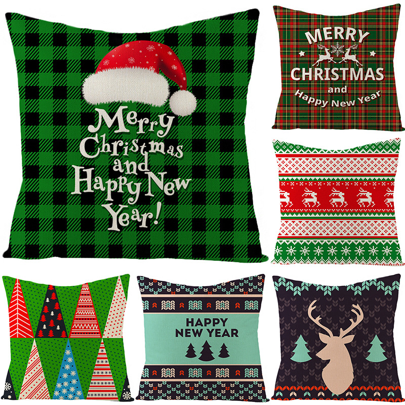 1Pcs Classic Fashion Green Knit Pattern Christmas Flax Square Pillowcase Vintage Winter Home Textile Pillow Cover
