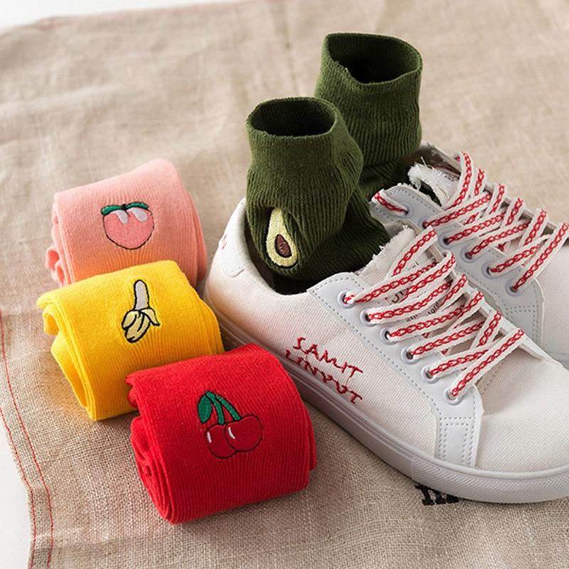 Korean-Fresh-Harajuku-Fruits-Socks-Funny-Animal-Flamingos-Lemon-Avocado-Pineapple-Cherry-Blueberry-Gardenias-Calcetines-Mujer(2)