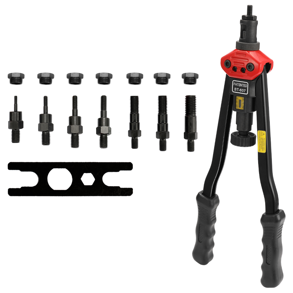 16in Labor-saving Hand Riveter BT-607 Manual Rivet Machinery 400mm Riveting Tools With Nut Dies M-3 M-4 M-5 M-6 M-8 M-10 M-12
