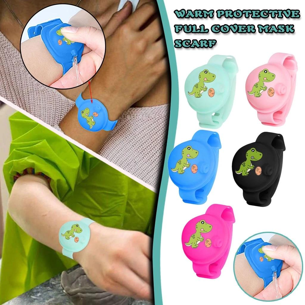 NEW Portable Silicone Bracelet Wristband Hand Soap Bottle Dispenser Band F2G2