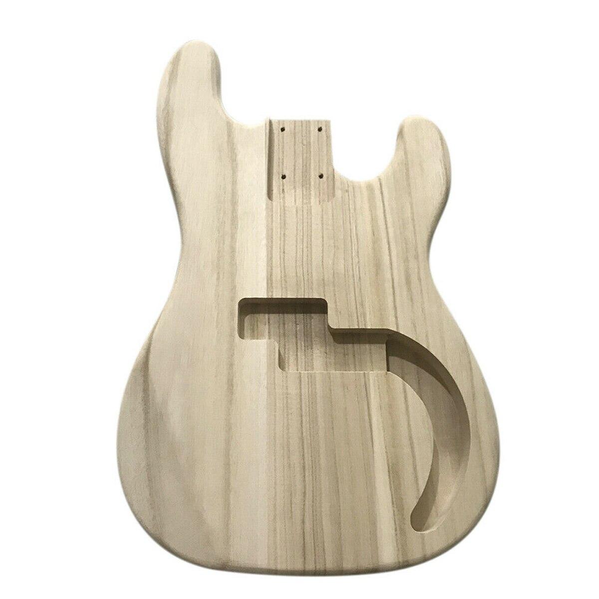 Corps de baril de basse de guitare électrique en bois d'érable inachevé de bricolage pour des pièces de rechange de guitare