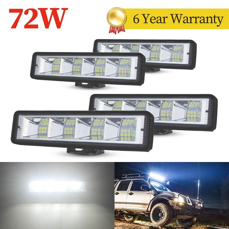 4pcs 72W car Work bar light LED Bar 4x4 24 led barra di lavoro offroad SUV ATV trattore camion per barche escavatore 12V 24V led Combo Beam