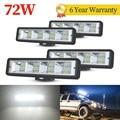 4 шт. 72W фары для автомобиля, светодиодный свет бар светильник светодиодный бар 4x4 24 светодиодный Бар offroad внедорожник ATV Трактор Лодка б/у экс...