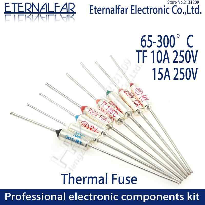 Thermal Fuse RY TF 10A 15A 250V Controle de Temperatura Interruptor Termostato 121 125 130 133 140 142 145 150 152 155 157 160 Graus C
