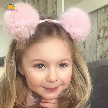 Cute Solid Pom Hairband Candy Color Plush Ball Girls Headband Fur Washing Face Makeup Headwear Sweet Women Hair Accessories