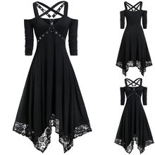 Women Halter Black Gothic Dress Summer Sexy Cold Shoulder See Though Mini Dresses 2019 Cute Japan Girl Hollow Goth Short Dress(China)