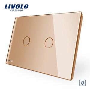 Image 4 - Livolo Elfenbein Kristall Glas Panel, AU/US standard Wand Schalter, 2 banden, dimmer Touch Hause Wand Licht Schalter, dim für lichter
