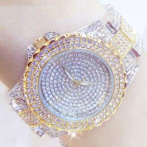 Image 1 - Full Diamond Watches Gold Women Crystal Luxury Brand Bling Rhinestone Wrist Watch Ladies Stainless Steel Clock Relogio Feminino