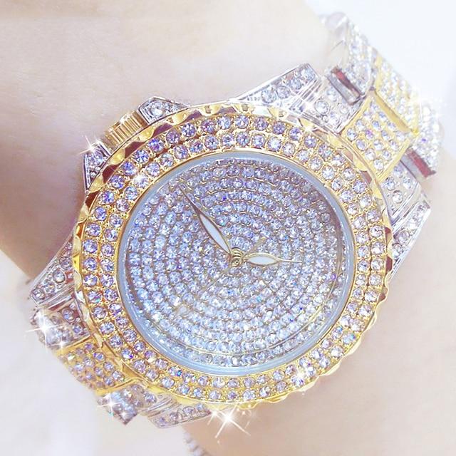 Full Diamond Watches Gold Women Crystal Luxury Brand Bling Rhinestone Wrist Watch Ladies Stainless Steel Clock Relogio Feminino