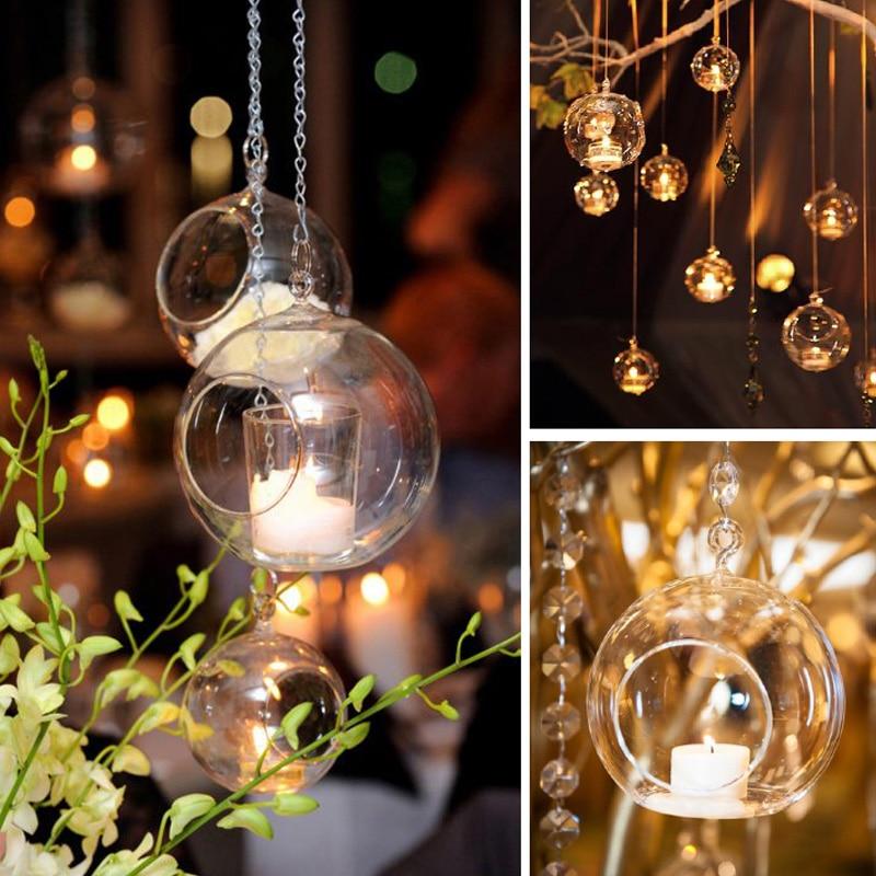 4 размера романтический свадебный ужин декоративный подсвечник бар вечерние домашний декор классический кристалл прозрачное стекло подвесные свечи держатель