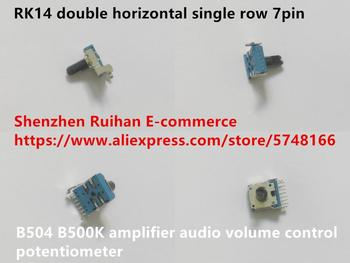 Original new 100% RK14 double horizontal single row 7pin B504 B500K amplifier audio volume control potentiometer (SWITCH) image