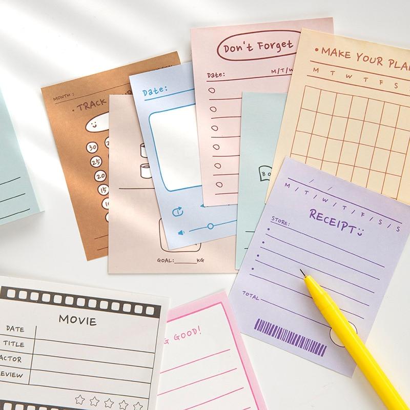50 folhas caderno estudante a fazer lista concisa bloco de memorando kawaii agenda semanal diário notas pegajosas papelaria do escritório da escola