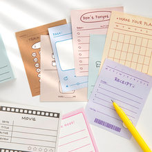 50 arkuszy notatnik uczeń Do zrobienia lista zwięzły notatnik Kawaii terminarz tygodniowy harmonogram dzienny kartki samoprzylepne szkolne materiały biurowe