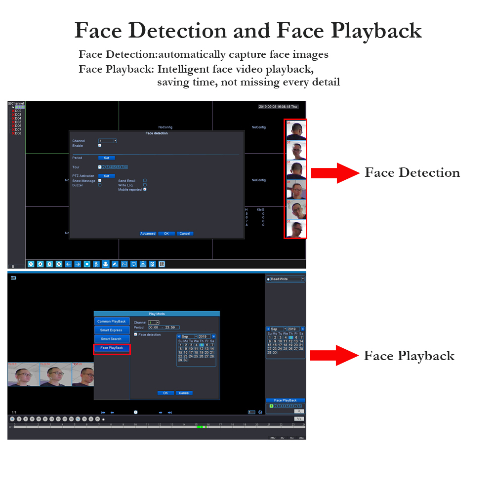 face detection and face playback