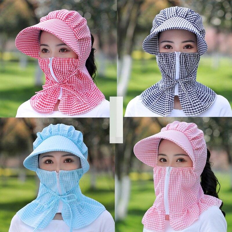 New Women Sun Hat Multi Function Anti-UV Summer Hat Lady Striped Wide Brim Visor Cap Female Neck Protect Riding Hunting Hat