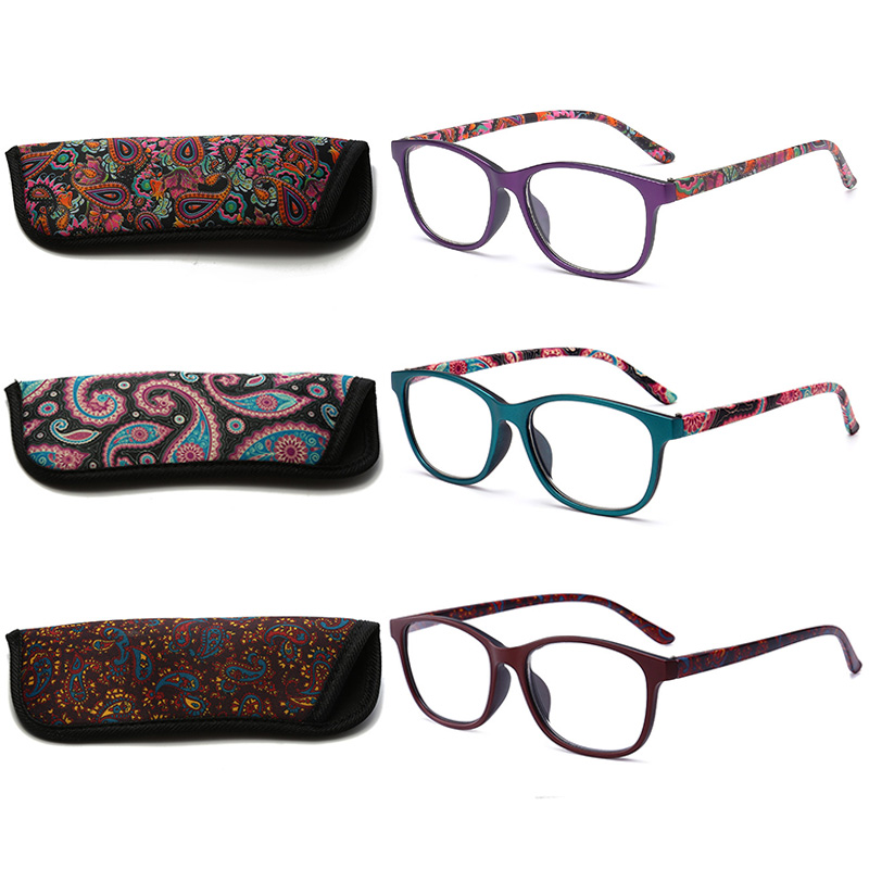 RBENN 3 Pack Ladies Reading Glasses with Bags Spring Hinges Pattern Stylish Reader for Women Men Reading EyewearWomens Reading Glasses   -