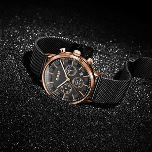 Image 4 - DOM montre daffaires de luxe pour hommes, chronographe, montre bracelet étanche à Quartz, entièrement en acier, M 1296GK