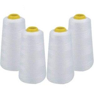 Товары для дома 4-упаковка из 6000 ярдов белая конусная нить Универсальная швейная нить полиэфирные катушки оверлок (Serger,Over Lock, Merrow,