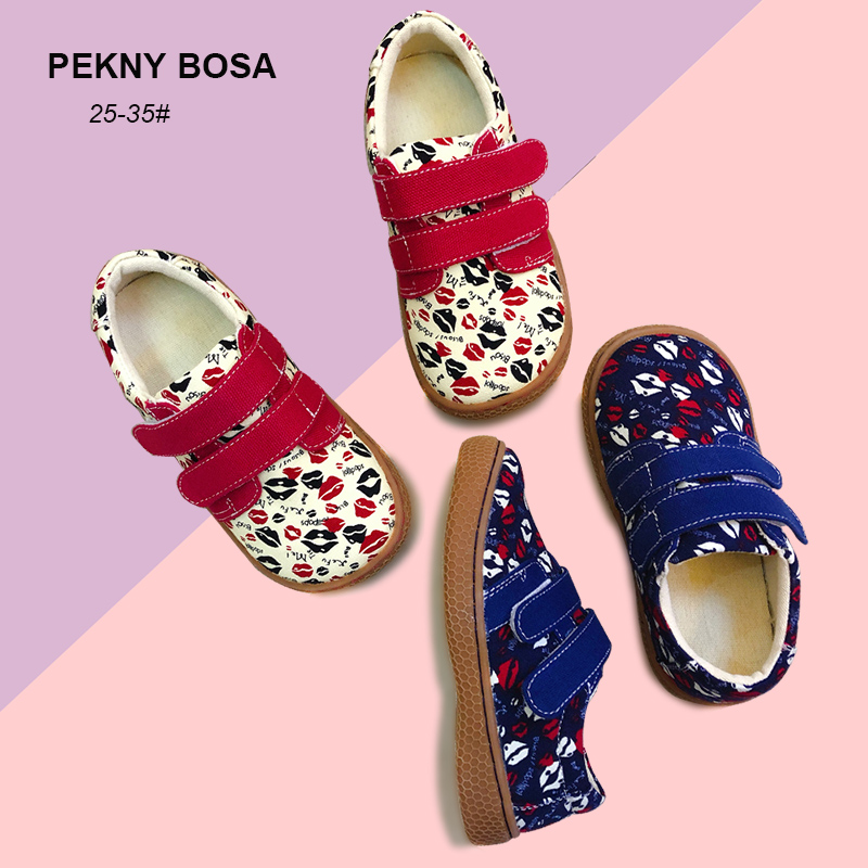 PEKNY BOSA Children Shoes Girls Boys Canvas Shoes Lips Printed Kids Canvas Shoes Big Size 25-35 Barefoot Toddler Sneakers