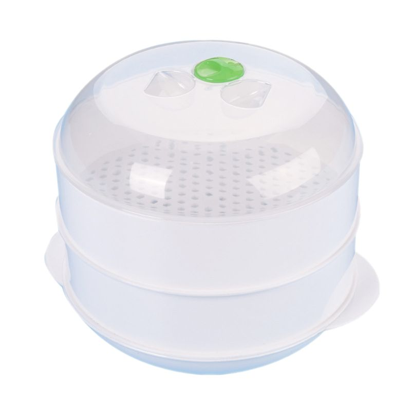 Double Plastic Steamer Microwave Oven Round Steamer Y5GB