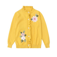 Spring Little Girls Sweater Long sleeve Flowers embroidered Kids Knit cardigan sweaters Sweet Girls Clothes knitted jacket 3-14T tbz 1 5yrs kids sweaters new 2016 winter spring girls clothes fashion boys clothes little rabbit embroidered knitting wool suit
