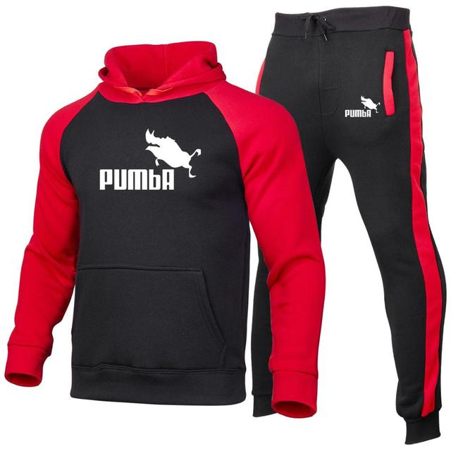 Men Women Hoodies set Fashion Casual Print pumba Long Sleeve Splice  Sweatshirt Autumn Winter Warm Thick Hip-hop Style Hoody set