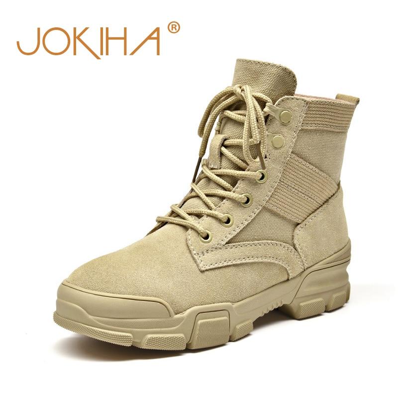 Hiver femmes désert bottes vache daim cuir dames bottines Martin bottes pour femme en plein air militaire chaussons moto chaussures