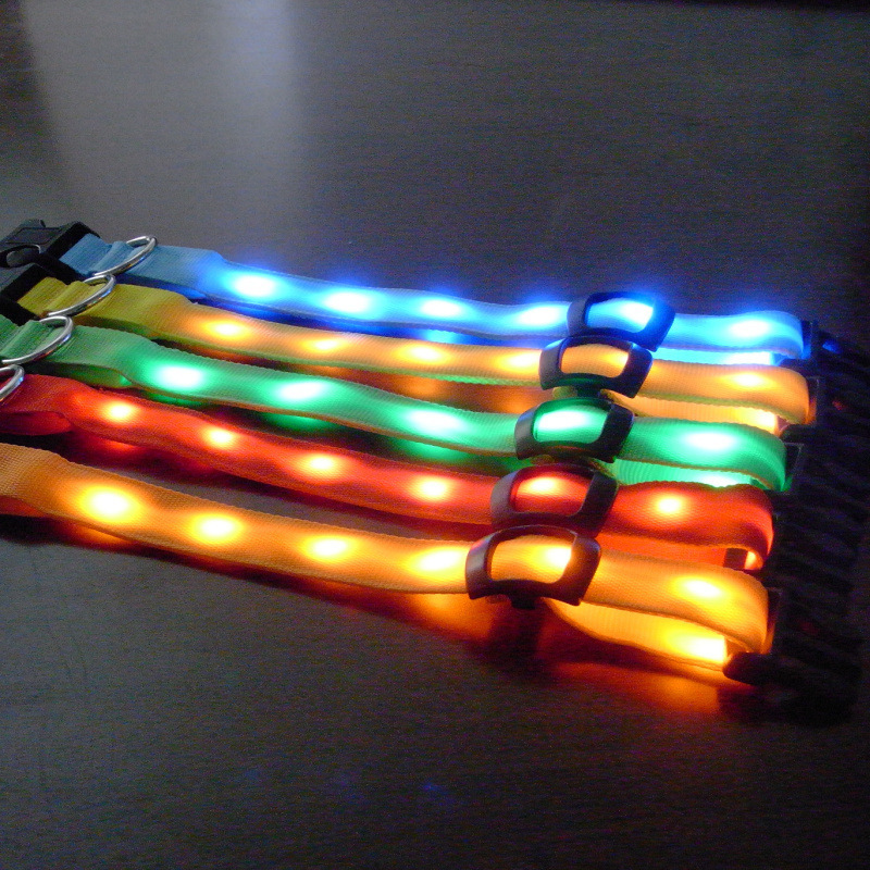 Good Brand LED Double-Sided Shining Light Belt Pet Dog Collar Shining Bite-proof Protector LED Dog Belt Mixed Batch