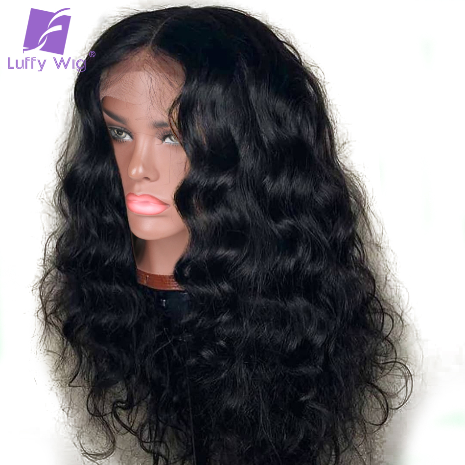 Wavy 13x6 Lace Front Wig Peruvian Remy Human Hair Lace Frontal Wigs With Baby Hair Pre Plucked Natural Black For Women Luffy