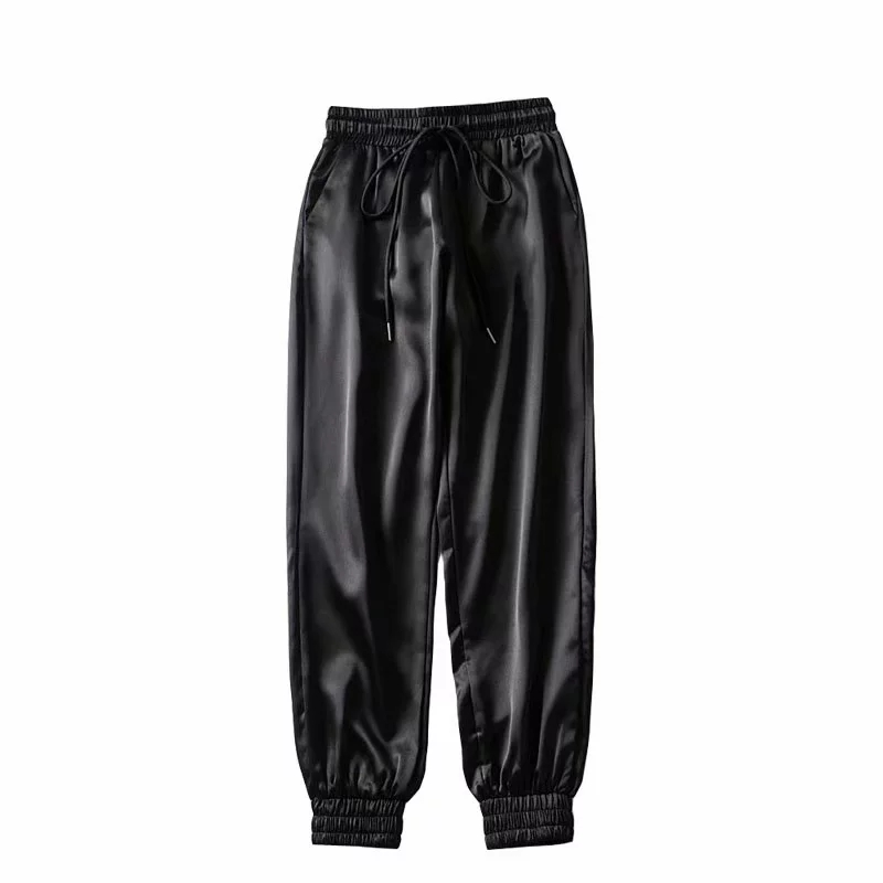 2020 Black Satin Pants Women Sweat Pants Fashion Joggers Women Trousers Hip Hop Streetwear Kawaii Pink High Waist Pants Fall