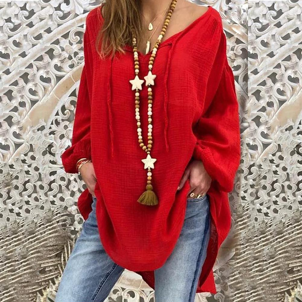 Women Blouses Solid Color Casual Casual Ladies Shirt Fashion V neck Long Sleeve Autumn Loose Plus