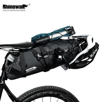 Rhinowalk Bike wodoodporna rowerowa torba pod siodełko odblaskowa duża pojemność składana tylna torba rowerowa MTB bagażnik czarny tanie i dobre opinie Poliester Bryzgoodporna RK19511 12 13