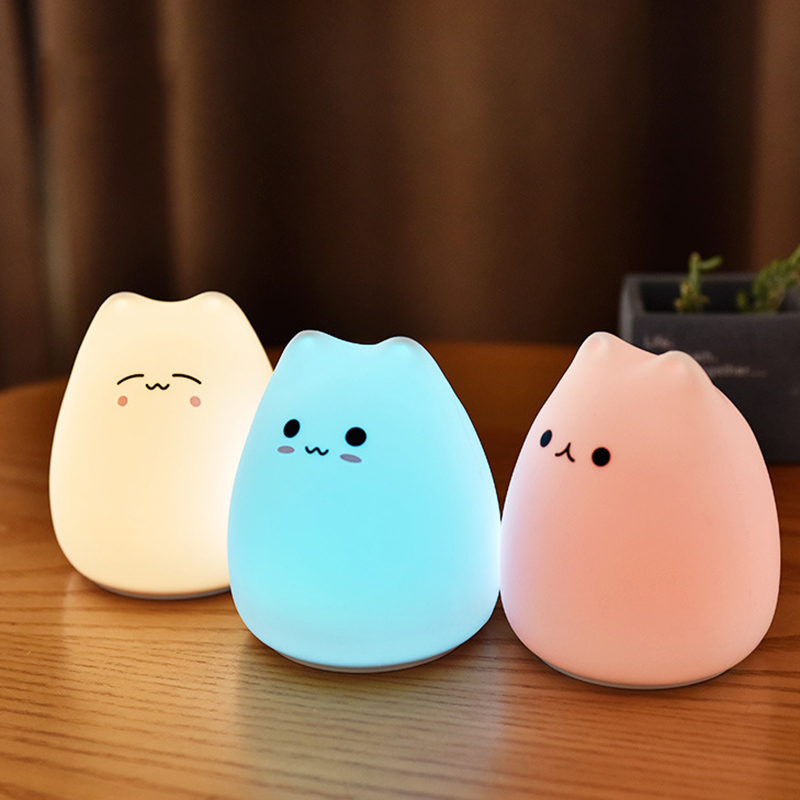 Cute LED Night Light Silicone Touch Sensor 7 Colors Cat Night Lamp Kids Baby Bedroom Desktop Decor Ornaments Battery/USB Charge