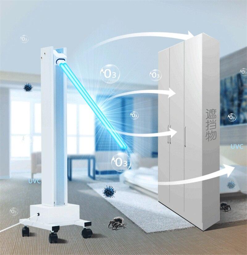 65W 100w High Power UV Ultraviolet Disinfection Remove Control Sterilization Light Kindergarten Mobile Ozone Mite Removal Lamp