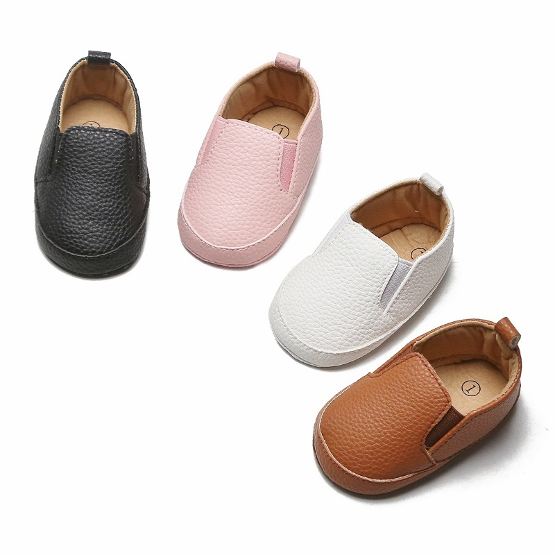Wholesale Baby Shoes For Boys Girls Anti-Slip Sole Newborn Infant Toddler Baby First Walkers PU Leather Solid Baby Casual Shoes
