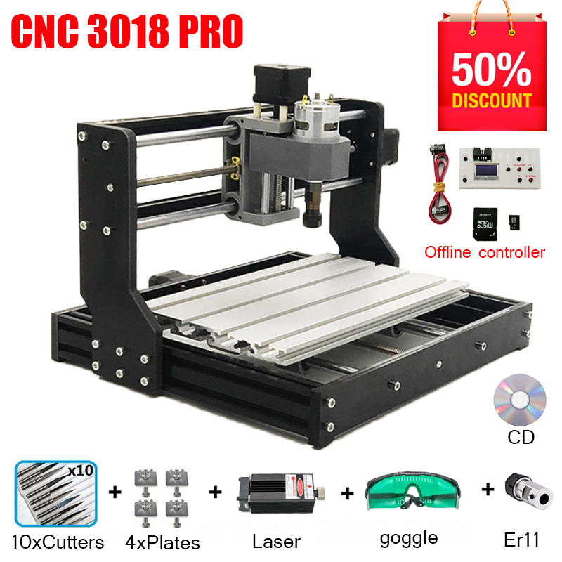 CNC 3018 PRO Laser Engraver Wood CNC Router Machine GRBL ER11 Hobby DIY Engraving Machine For Wood PCB PVC Mini CNC3018 Engraver