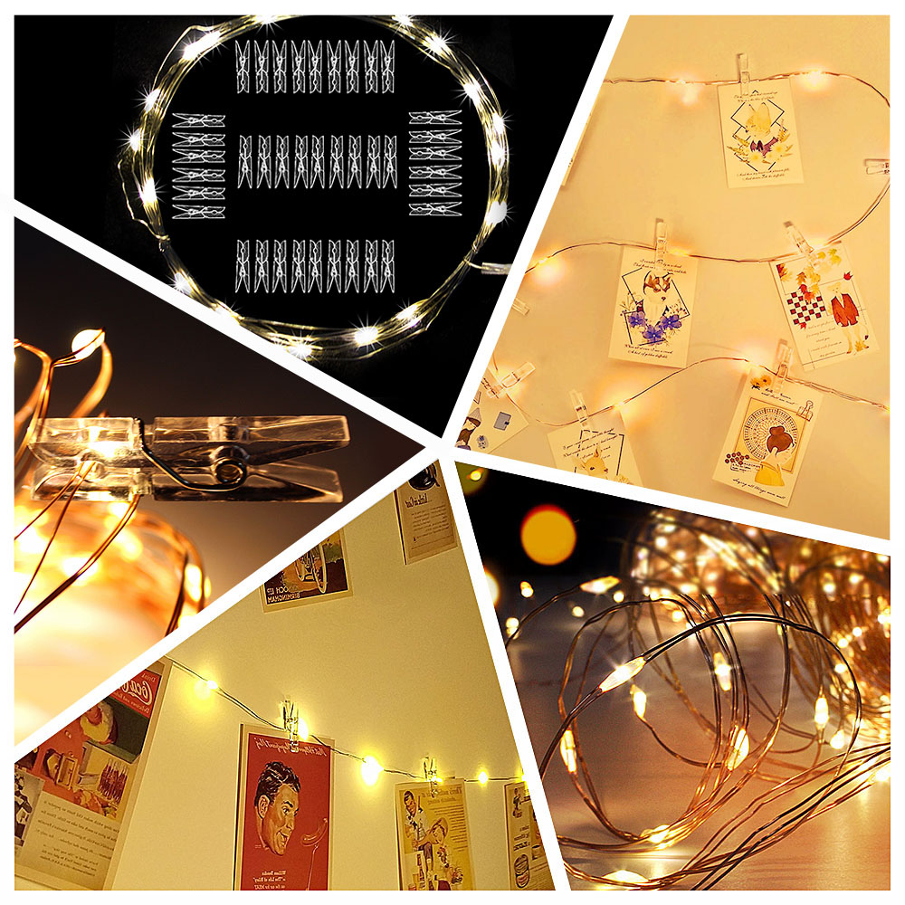 10M Photo Clip USB LED String Lights Fairy Lights Outdoor Battery Operated Garland Christmas Decoration Party  (26)