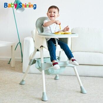 Детский Блестящий детский стульчик для кормления, обеденный стул , двойные столы, макарон, многофункциональный, регулируемый по высоте, пор...