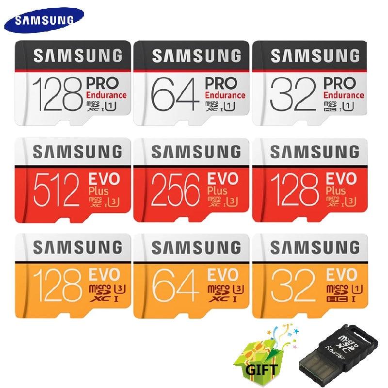 Карта памяти Microsd SAMSUNG EVO Plus/PRO Enduran Microsd карты 256G 128 ГБ, 64 ГБ, 32 ГБ, карта памяти, C10 4K со сверхвысоким разрешением Ultra HD, MicroSDXC/SDHC флэш-карта