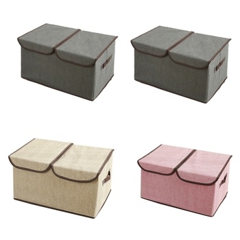 WSFS Hot 4 Pack Larger Storage Cubes Fabric Foldable Collapsible Storage Square Bin Organizer Basket with Lid Handles Removable